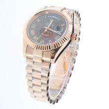 Rolex Day-Date II Automatic Full Rose Gold Roman Markers with Black Dial