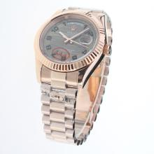 Rolex Day-Date II Automatic Full Rose Gold Number Markers with Gray Dial