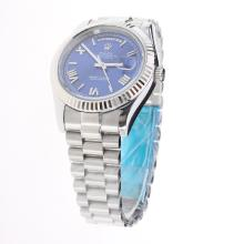Rolex Day-Date II Automatic Roman/Stick Markers with Blue Dial S/S