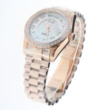 Rolex Day-Date Automatic Full Rose Gold Diamond Bezel with Pink MOP Dial