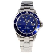Rolex Submariner Swiss Cal 3135 Movement with Blue Dial S/S