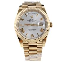Rolex Day-Date II Swiss ETA 2836 18K Plated Gold Movement Full Gold with Silver Dial