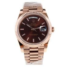 Rolex Day-Date II Swiss ETA 2836 18K Plated Gold Movement Full Gold with Brown Checkered Dial