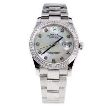 Rolex Datejust Swiss ETA 2836 Movement Diamond Bezel and Markers with MOP Dial S/S-High Quality Version