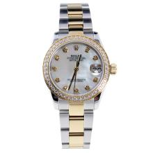 Rolex Datejust Swiss ETA 2836 Movement Two Tone Diamond Bezel and Markers with MOP Dial-High Quality Version