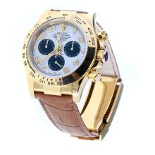Rolex Daytona Swiss Calibre 4130 Chronograph Movement Gold Case Number Markers with White Dial-Leather Strap