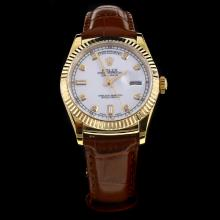 Rolex Day-Date Automatic Gold Case Diamond Markers White Dial with Leather Strap-Same Chassis as ETA Version