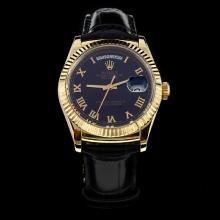 Rolex Day-Date Automatic Gold Case Roman Markers Black Dial with Leather Strap-Same Chassis as ETA Version