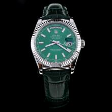 Rolex Day-Date Automatic Stick Markers Green Dial with Leather Strap-Same Chassis as ETA Version