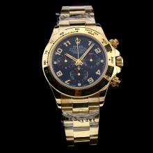 Rolex Daytona Chronograph Swiss Valjoux 7750 Movement Full Gold Super Luminous with Blue Dial-Sapphire Glass