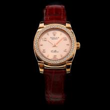 Rolex Cellini Rose Gold Case Diamond Bezel with Champagne Dial-Red Leather Strap