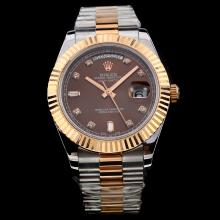 Rolex Day-Date II Swiss ETA 2836 Movement Two Tone with Brown Dial-Diamond Marking