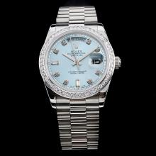 Rolex Day-Date Swiss ETA 2836 Movement Diamond Bezel and Markers with Blue Dial S/S