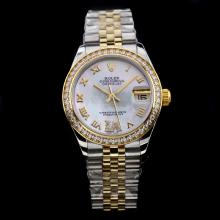 Rolex Datejust Swiss ETA 2836 Movement Two Tone Diamond Bezel with White MOP Dial-Mid Size