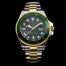 Rolex GMT-Master II Swiss ETA 2836 Movement Two Tone Green Ceramic Bezel with Green Dial