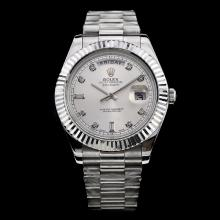 Rolex Day-Date II Swiss ETA 3156 Movement Diamond Markers with Silver Dial S/S