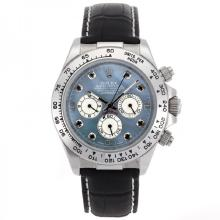 Rolex Daytona Automatic Movement Black Diamond Markers and Blue MOP Dial Leather Strap