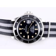 Rolex Submariner Cartier Automatic with Black Bezel and Dial Vintage Version-Nylon Strap