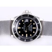 Rolex Submariner Cartier Automatic with Black Bezel and Dial Vintage Version-Gray Nylon Strap