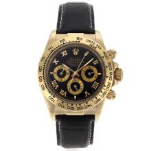 Rolex Daytona Automatic Gold Case with Black Dail-Roman Marking