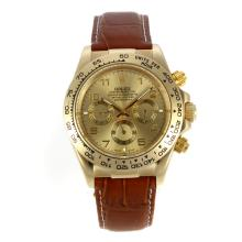 Rolex Daytona Automatic Gold Case with Golden Dail-Number Marking