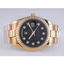 Rolex Day-Date Automatic Full Gold Diamond Marking with Black Dial