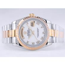 Rolex Day-Date Swiss ETA 2836 Movement Two Tone with MOP Dial Roman Marking