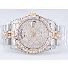Rolex Day-Date Swiss ETA 2836 Movement Two Tone with Diamond Bezel and Dial