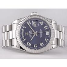 Rolex Day-Date Swiss ETA 2836 Movement with Blue Dial Number Marking