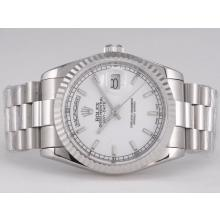 Rolex Day-Date Swiss ETA 2836 Movement with White Dial Stick Marking-1