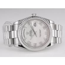 Rolex Day-Date Swiss ETA 2836 Movement with Silver Dial Number Marking