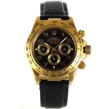 Rolex Daytona Automatic Gold Case with Black Dial Number Marking