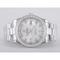 Rolex Day-Date Swiss ETA 2836 Movement Diamond Marking and Bezel with Silver Dial