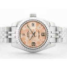 Rolex Datejust Automatic with Champagne Floral Motif Dial 2009 New Version