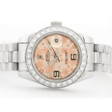 Rolex Datejust Automatic with Champagne Floral Motif Dial with Diamond Bezel-2009 New Version