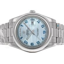 Rolex Date Date II Automatic with Blue Dial S/S-Arabic Marking