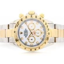Rolex Daytona Working Chrono YG/SS Two Tone White Dial with Diamond Marking