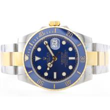 Rolex Submariner Automatic Two Tone Ceramic Bezel with Blue Dial