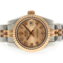 Rolex Datejust Automatic Two Tone with Rose Gold Dial Number Marking