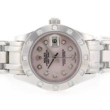 Rolex Masterpiece Swiss ETA 2836 Movement Diamond Marking with Pink MOP Dial 2