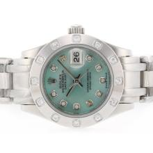 Rolex Masterpiece Swiss ETA 2836 Movement Diamond Marking with Green MOP Dial 2