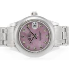 Rolex Masterpiece Swiss ETA 2836 Movement Diamond Marking with Pink MOP Dial 1