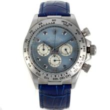 Rolex Daytona Working Chronograph Blue Diamond Markers with Blue MOP Dial and Leather Strap
