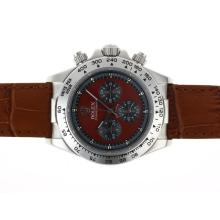 Rolex Daytona Working Chronograph with Red Dial Leather Strap