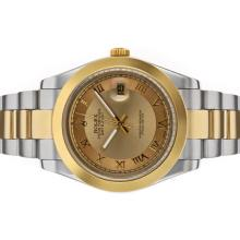 Rolex Datejust II Automatic Two Tone Roman Markers with Golden Dial