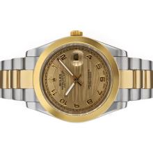 Rolex Datejust II Automatic Two Tone Number Markers with Golden Wave Dial