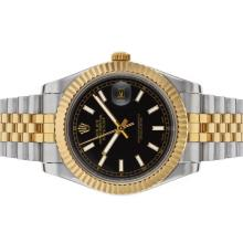 Rolex Datejust II Automatic Two Tone Stick Markers with Black Dial