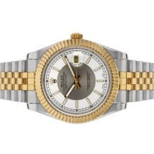 Rolex Datejust II Automatic Two Tone Stick Markers with Gray/White Dial