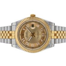 Rolex Datejust II Automatic Two Tone Number Markers with Golden Dial