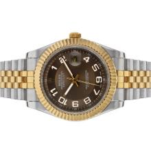 Rolex Datejust II Automatic Two Tone Number Markers with Brown Dial